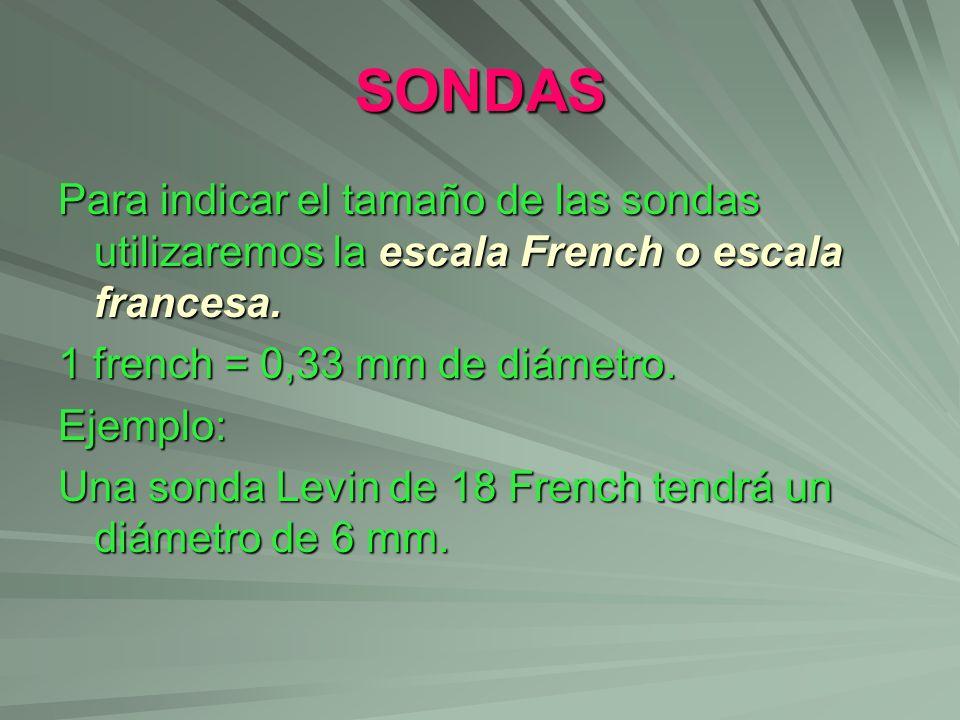 SONDAS Para indicar el tamaño de las sondas utilizaremos la escala French o escala francesa. 1 french = 0,33 mm de diámetro.