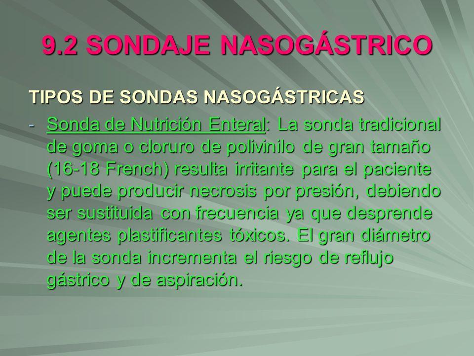 9.2 SONDAJE NASOGÁSTRICO TIPOS DE SONDAS NASOGÁSTRICAS