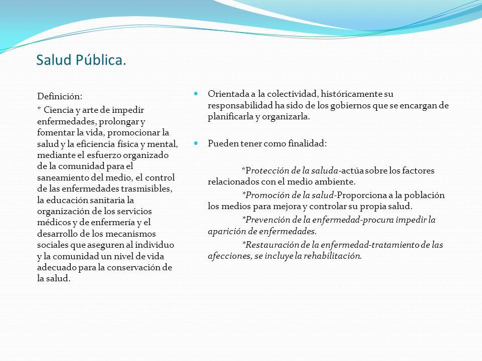 Salud Pública. Definición: