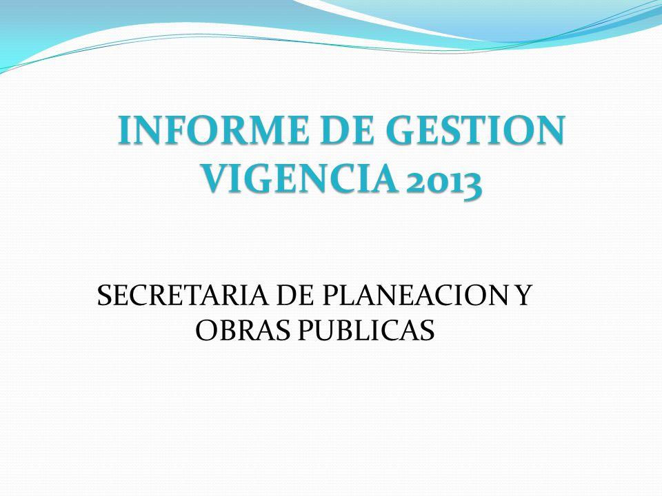 INFORME DE GESTION VIGENCIA 2013