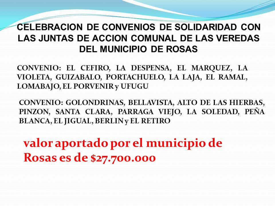 valor aportado por el municipio de Rosas es de $27.700.000
