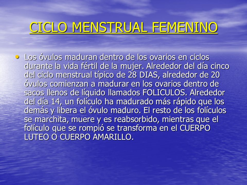 CICLO MENSTRUAL FEMENINO