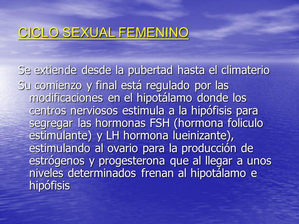 CICLO SEXUAL FEMENINOSe extiende desde la pubertad hasta el climaterio.
