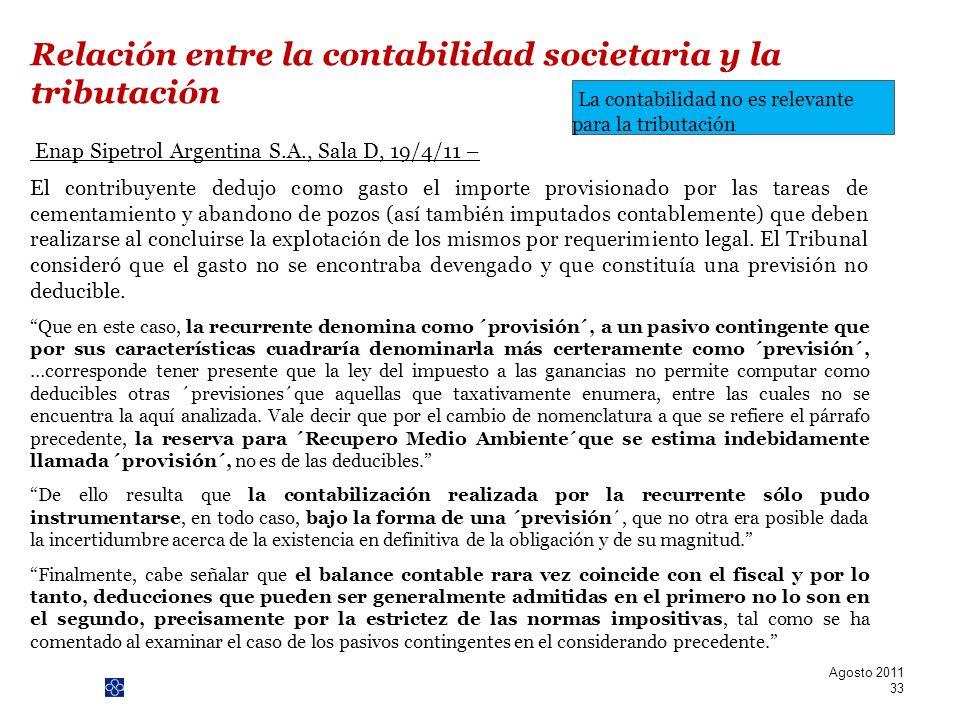 Relación entre la contabilidad societaria y la tributación