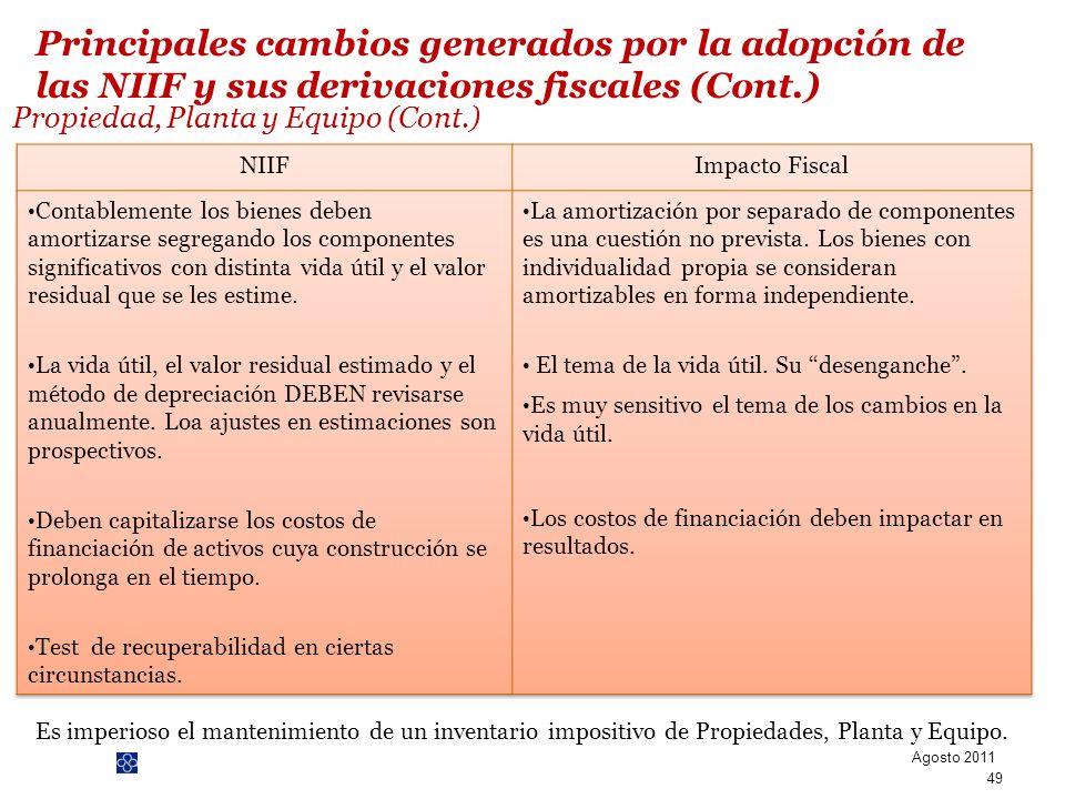 Propiedad, Planta y Equipo (Cont.)
