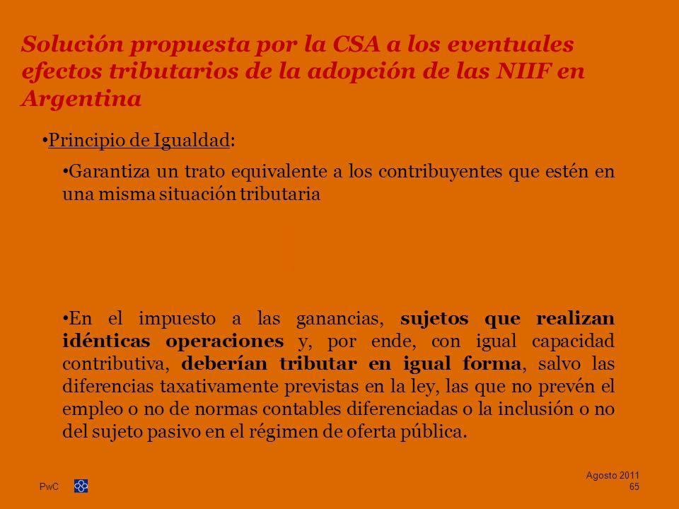 Solución propuesta por la CSA a los eventuales efectos tributarios de la adopción de las NIIF en Argentina