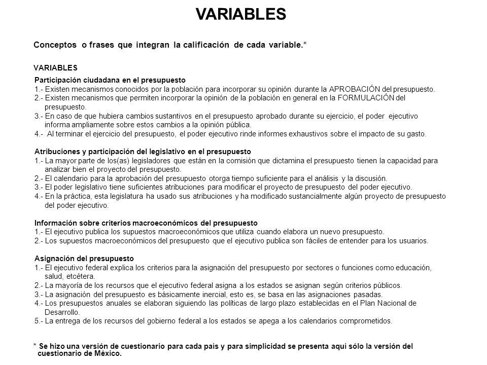 VARIABLES Conceptos o frases que integran la calificación de cada variable.* VARIABLES. Participación ciudadana en el presupuesto.