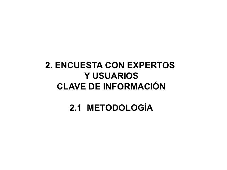2. ENCUESTA CON EXPERTOS Y USUARIOS CLAVE DE INFORMACIÓN 2.1 METODOLOGÍA