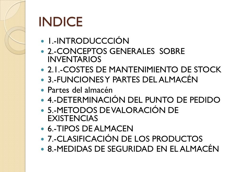 INDICE 1.-INTRODUCCCIÓN 2.-CONCEPTOS GENERALES SOBRE INVENTARIOS