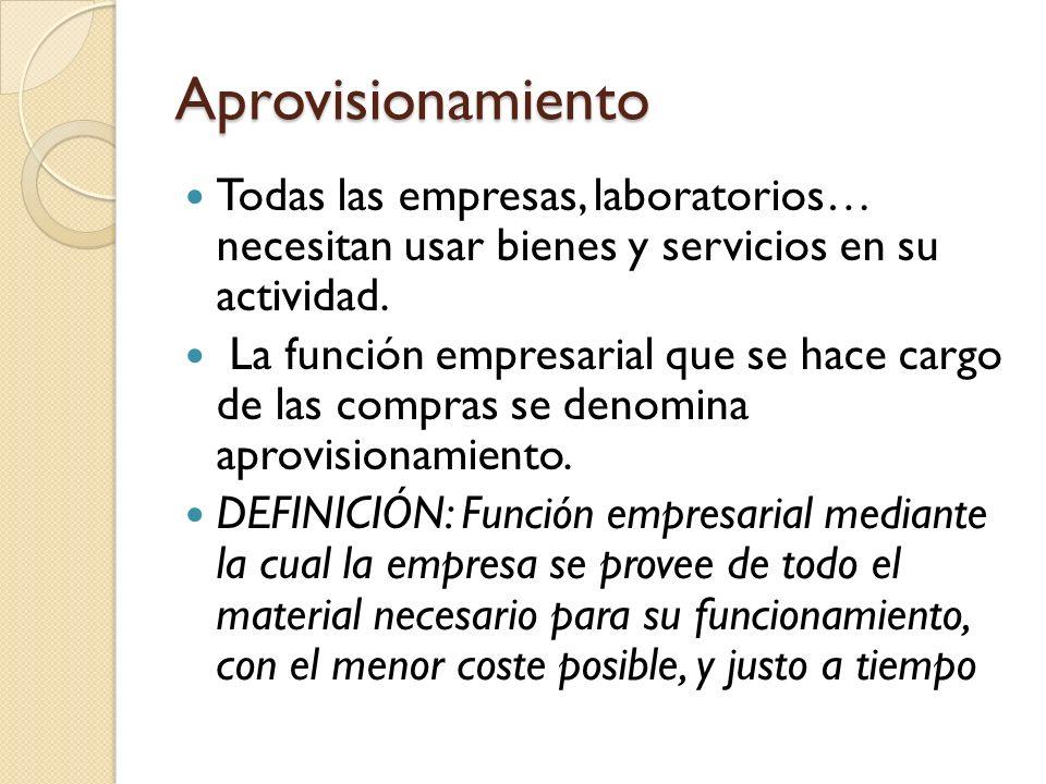 Aprovisionamiento Todas las empresas, laboratorios… necesitan usar bienes y servicios en su actividad.