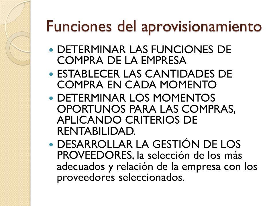 Funciones del aprovisionamiento