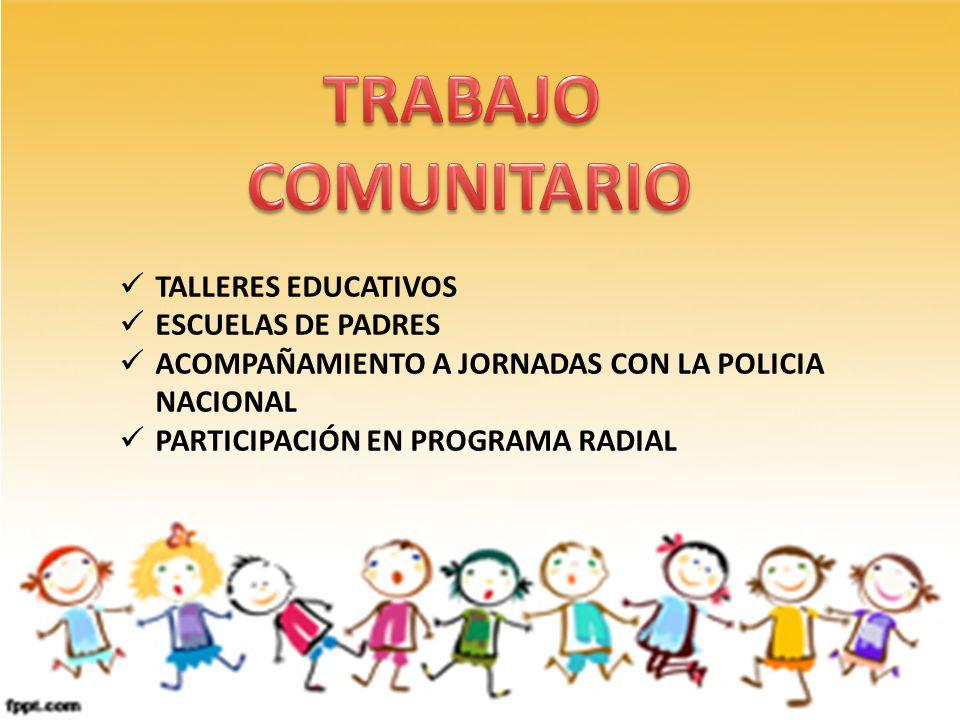 TRABAJO COMUNITARIO TALLERES EDUCATIVOS ESCUELAS DE PADRES