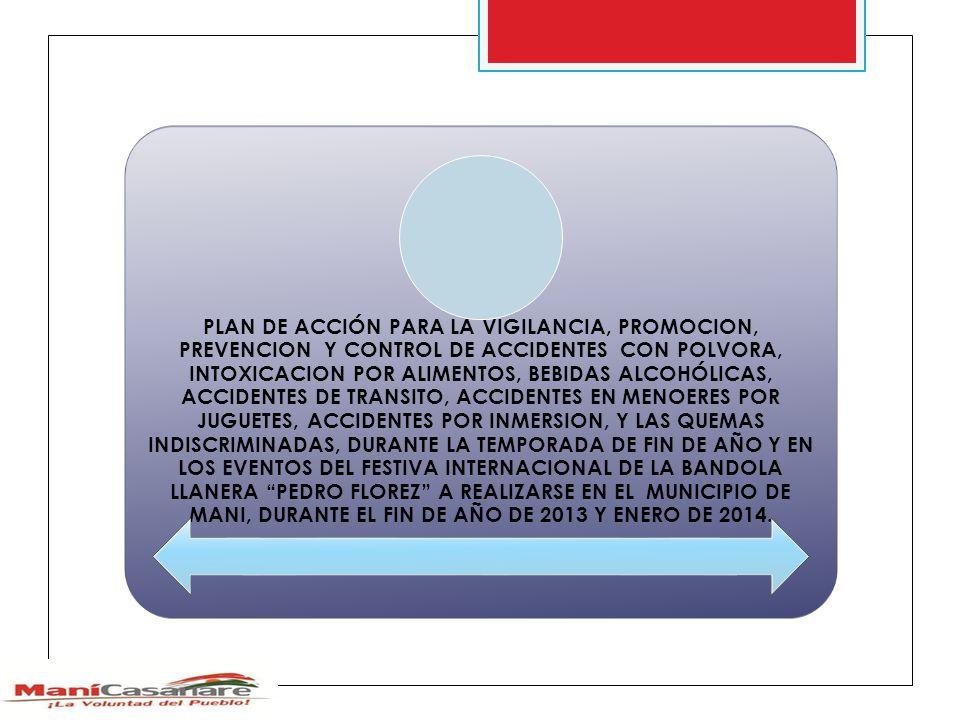 PLAN DE ACCIÓN PARA LA VIGILANCIA, PROMOCION, PREVENCION Y CONTROL DE ACCIDENTES CON POLVORA, INTOXICACION POR ALIMENTOS, BEBIDAS ALCOHÓLICAS, ACCIDENTES DE TRANSITO, ACCIDENTES EN MENOERES POR JUGUETES, ACCIDENTES POR INMERSION, Y LAS QUEMAS INDISCRIMINADAS, DURANTE LA TEMPORADA DE FIN DE AÑO Y EN LOS EVENTOS DEL FESTIVA INTERNACIONAL DE LA BANDOLA LLANERA PEDRO FLOREZ A REALIZARSE EN EL MUNICIPIO DE MANI, DURANTE EL FIN DE AÑO DE 2013 Y ENERO DE 2014.
