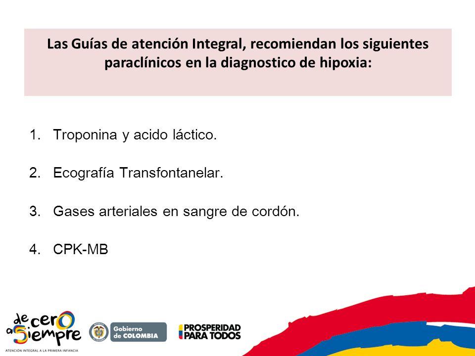 Las Guías de atención Integral, recomiendan los siguientes paraclínicos en la diagnostico de hipoxia: