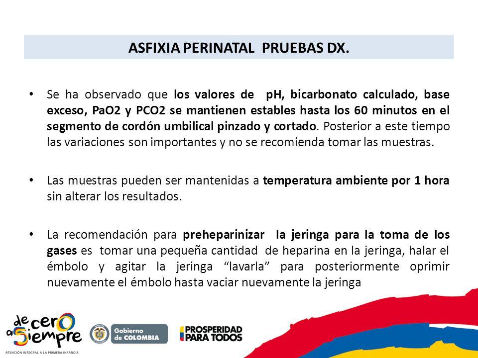 ASFIXIA PERINATAL PRUEBAS DX.