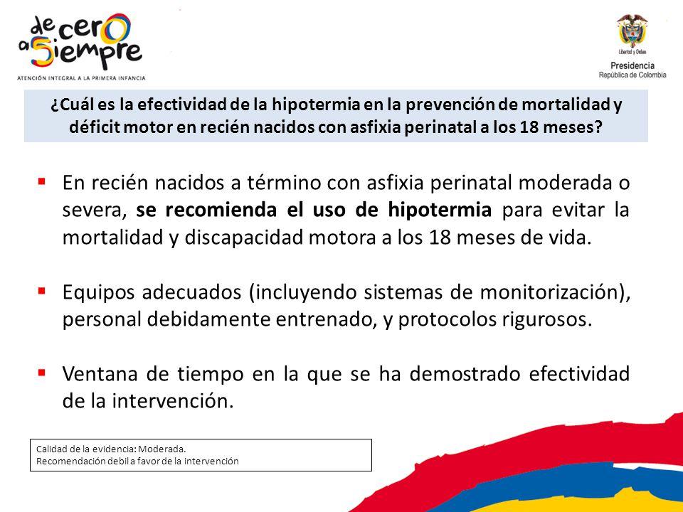 ¿Cuál es la efectividad de la hipotermia en la prevención de mortalidad y déficit motor en recién nacidos con asfixia perinatal a los 18 meses