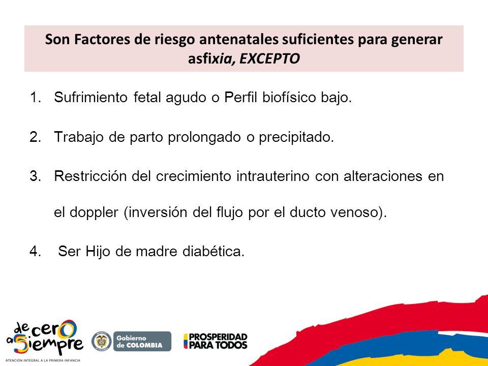Son Factores de riesgo antenatales suficientes para generar asfixia, EXCEPTO