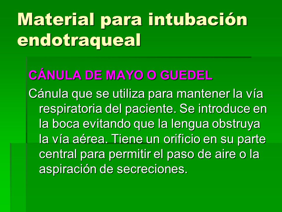 Material para intubación endotraqueal