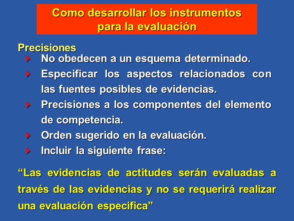 Como desarrollar los instrumentos para la evaluación