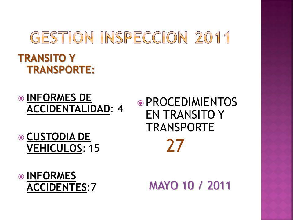 27 GESTION INSPECCION 2011 PROCEDIMIENTOS EN TRANSITO Y TRANSPORTE