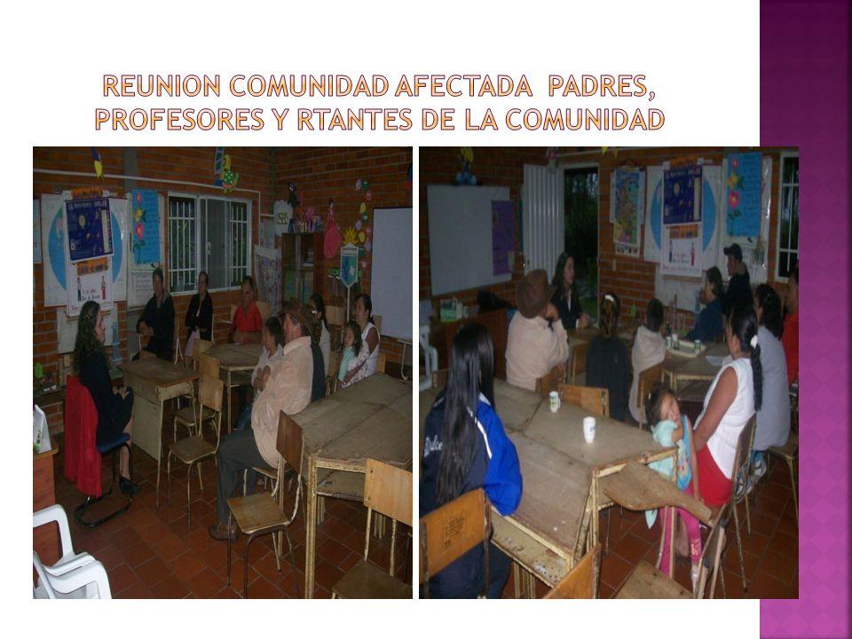 REUNION COMUNIDAD AFECTADA PADRES, PROFESORES Y RTANTES DE LA COMUNIDAD