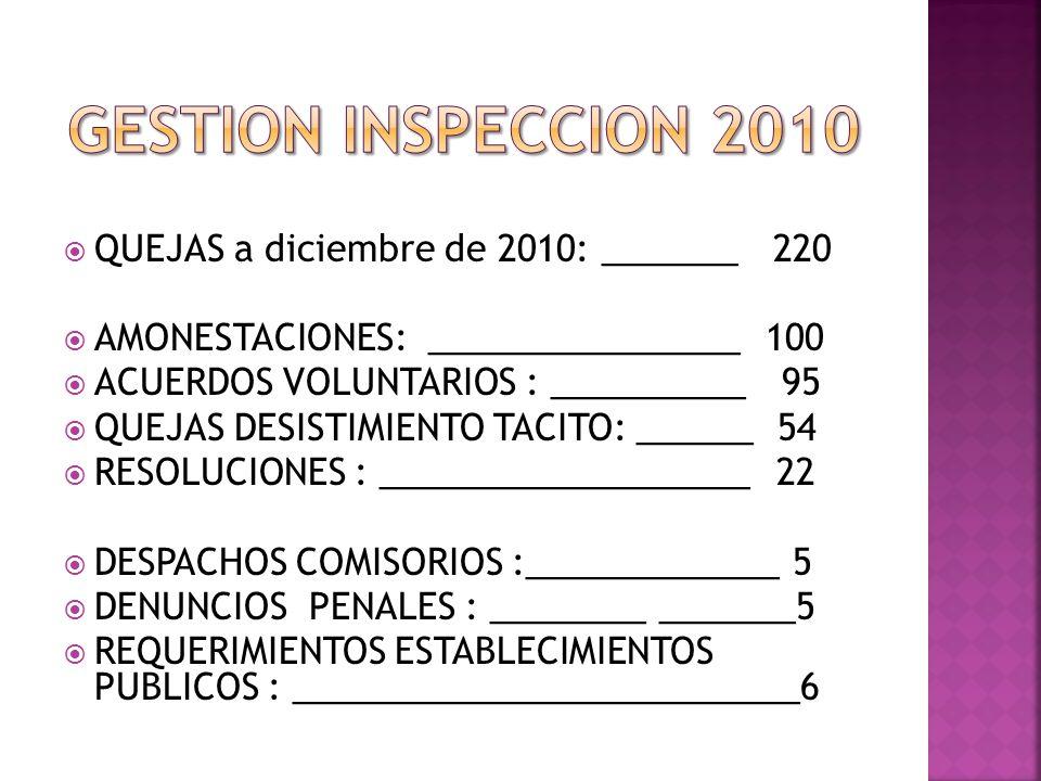 GESTION INSPECCION 2010 QUEJAS a diciembre de 2010: _______ 220