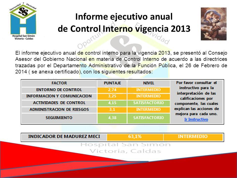 Informe ejecutivo anual de Control Interno vigencia 2013