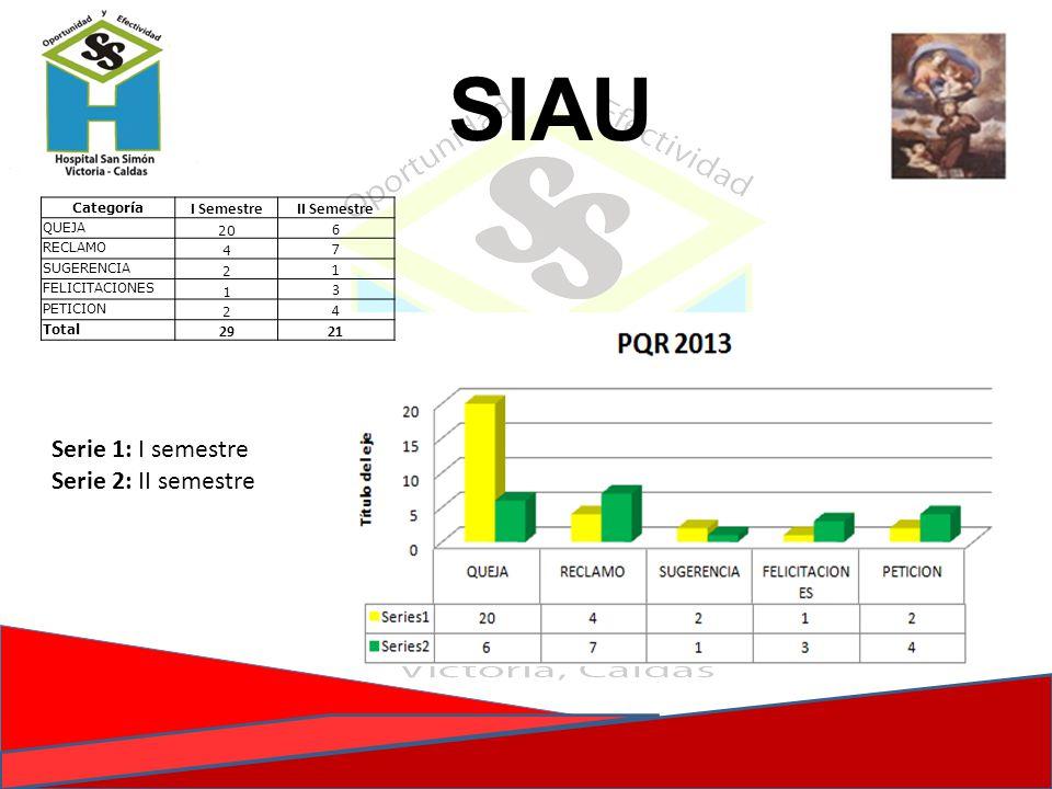 SIAU Serie 1: I semestre Serie 2: II semestre I Semestre II Semestre 6