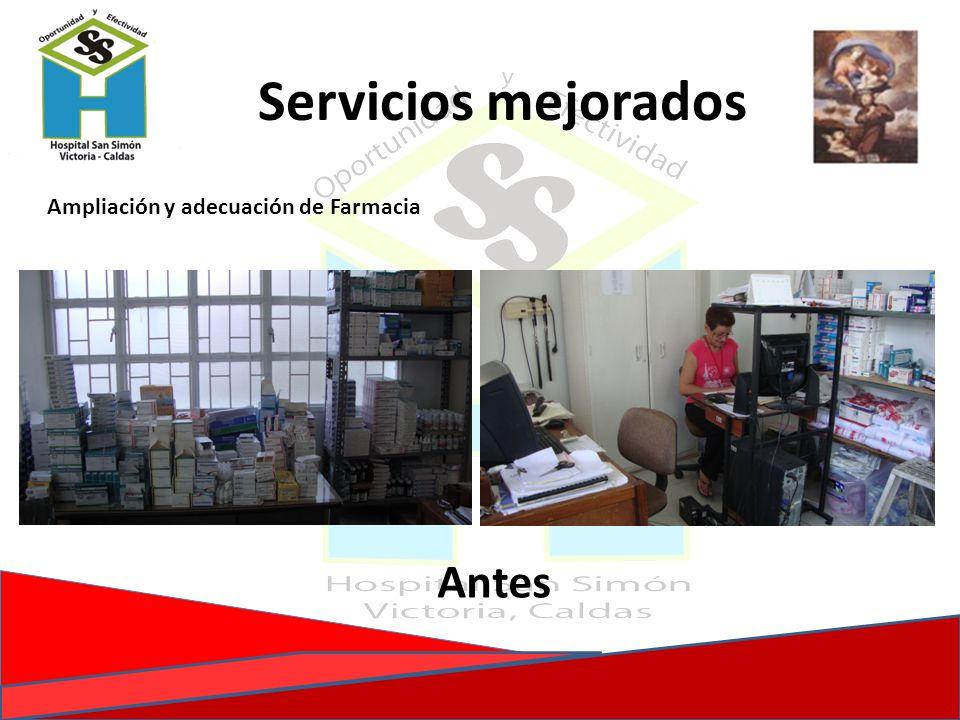 Servicios mejorados Ampliación y adecuación de Farmacia Antes