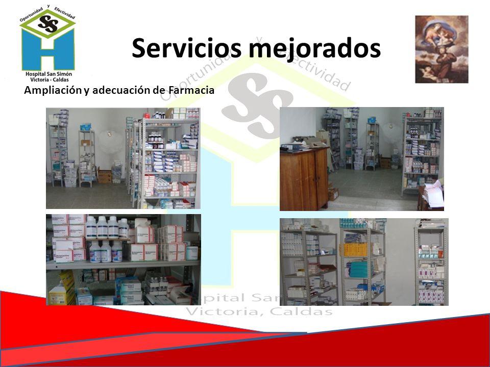 Servicios mejorados Ampliación y adecuación de Farmacia