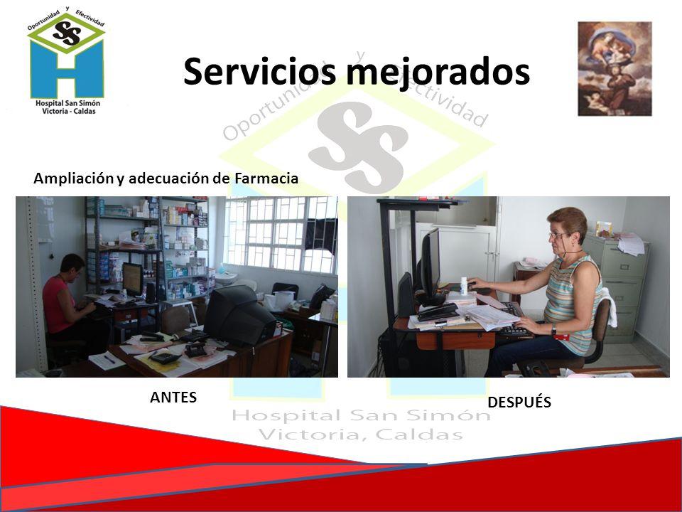 Servicios mejorados Ampliación y adecuación de Farmacia ANTES DESPUÉS