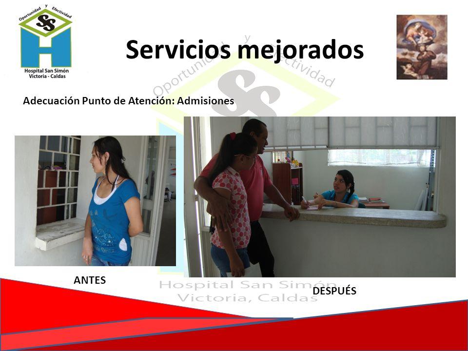 Servicios mejorados Adecuación Punto de Atención: Admisiones ANTES