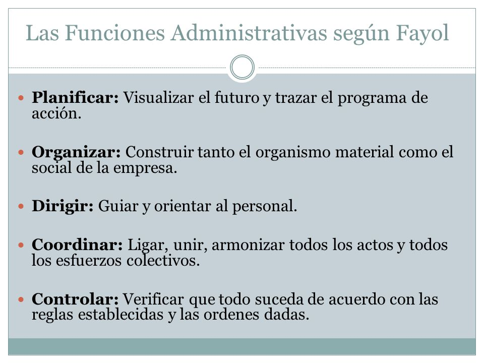 Las Funciones Administrativas según Fayol