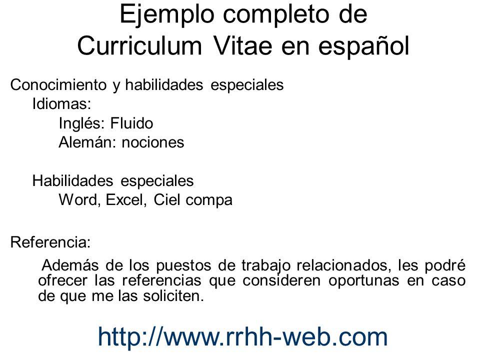 Ejemplo completo de Curriculum Vitae en español