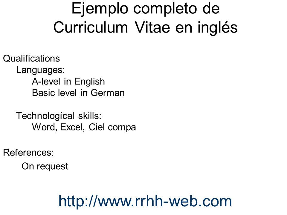 Ejemplo completo de Curriculum Vitae en inglés