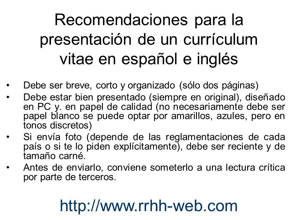 Recomendaciones para la presentación de un currículum vitae en español e inglés