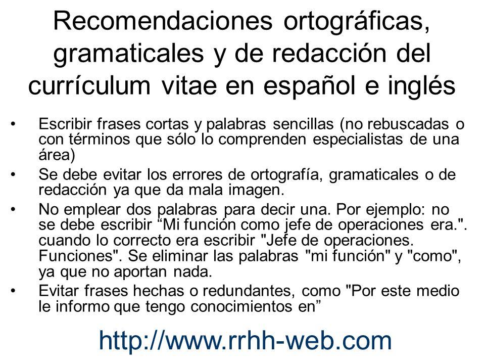 Recomendaciones ortográficas, gramaticales y de redacción del currículum vitae en español e inglés