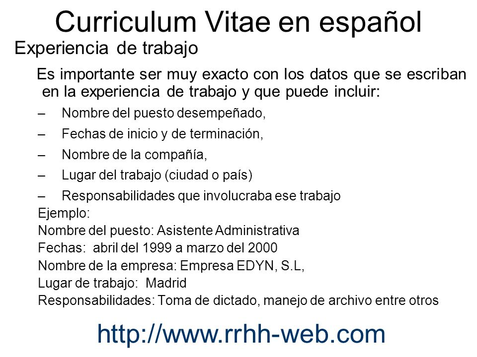 Curriculum Vitae en español