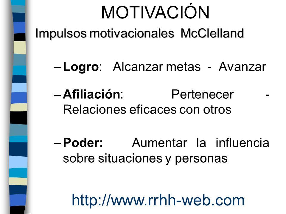 MOTIVACIÓN http://www.rrhh-web.com Impulsos motivacionales McClelland