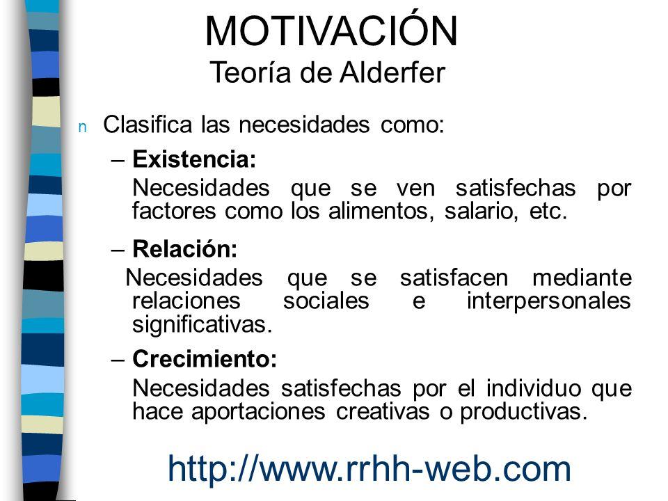 MOTIVACIÓN http://www.rrhh-web.com Teoría de Alderfer