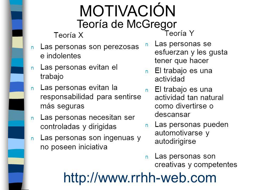 MOTIVACIÓN http://www.rrhh-web.com Teoría de McGregor Teoría X