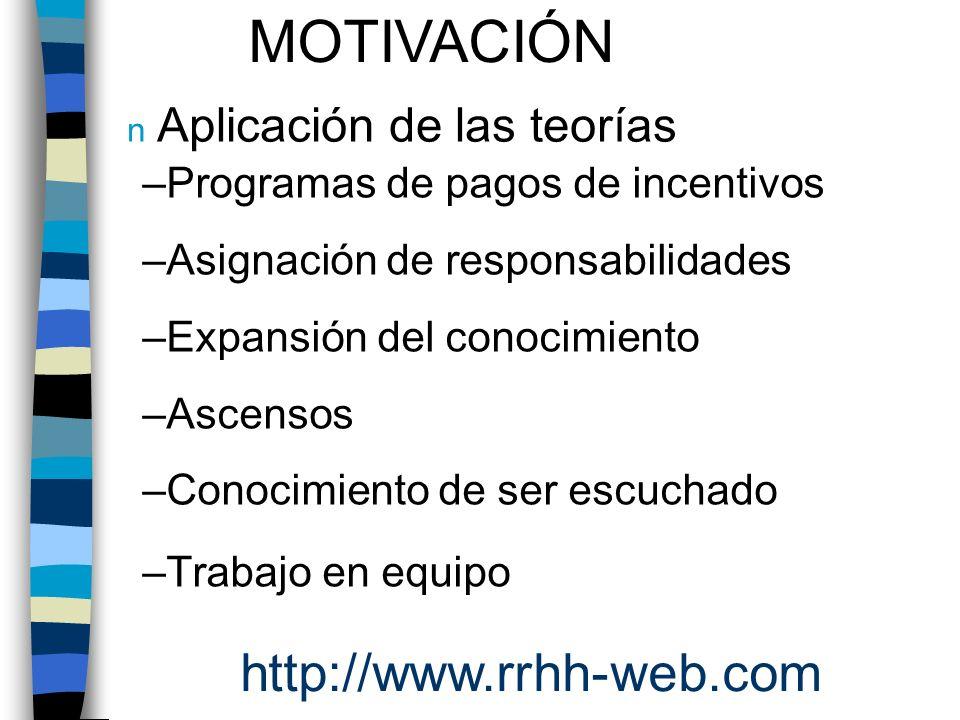 MOTIVACIÓN http://www.rrhh-web.com Aplicación de las teorías