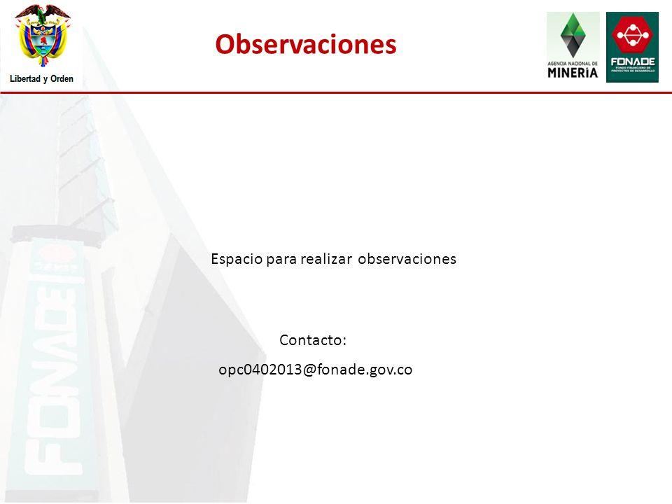 Observaciones Espacio para realizar observaciones Contacto: