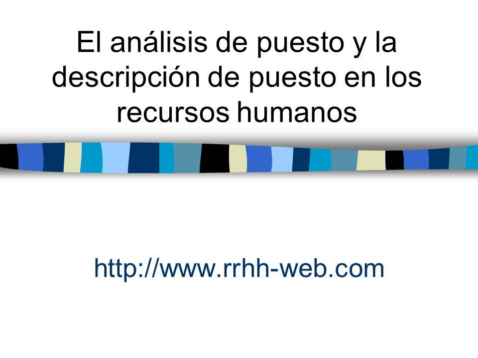 El análisis de puesto y la descripción de puesto en los recursos humanos