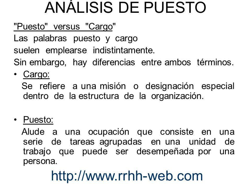 ANÁLISIS DE PUESTO http://www.rrhh-web.com Puesto versus Cargo