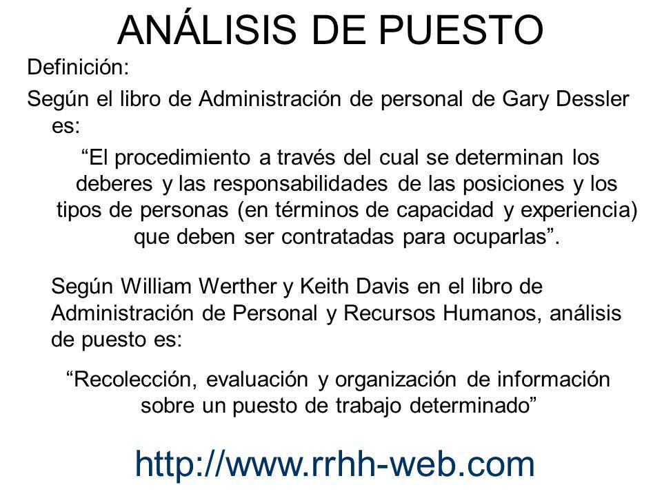 ANÁLISIS DE PUESTO http://www.rrhh-web.com Definición:
