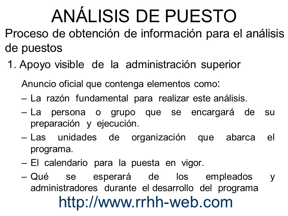 Proceso de obtención de información para el análisis de puestos