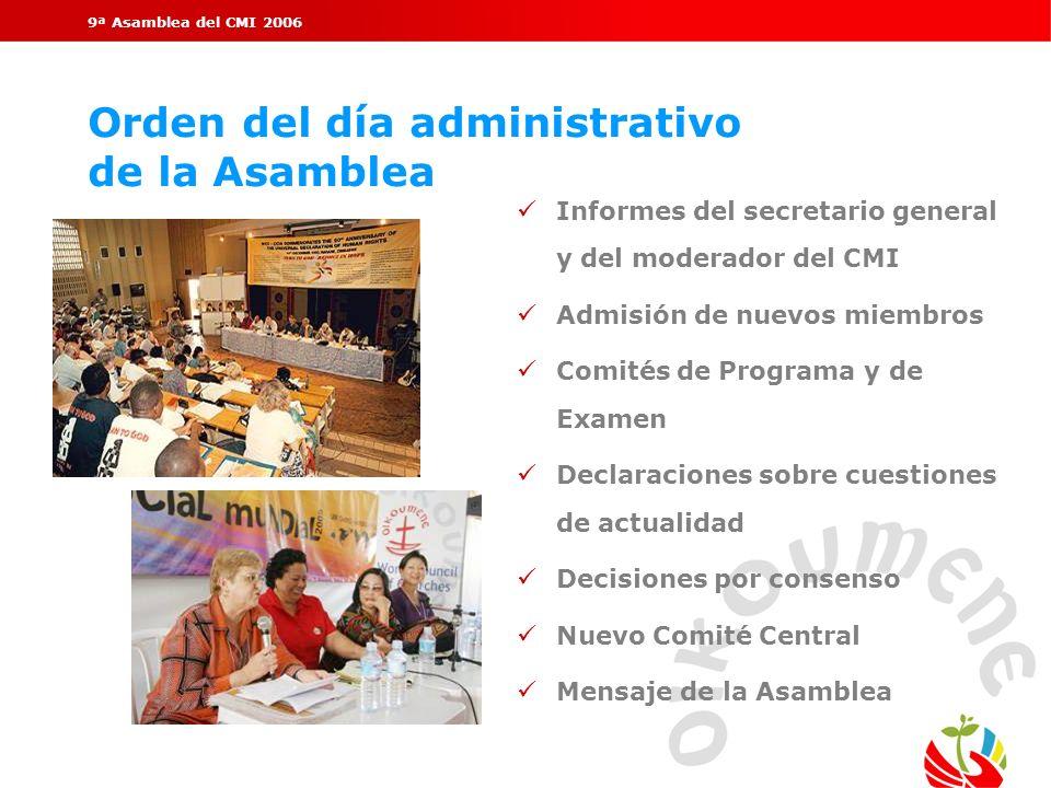 Orden del día administrativo de la Asamblea
