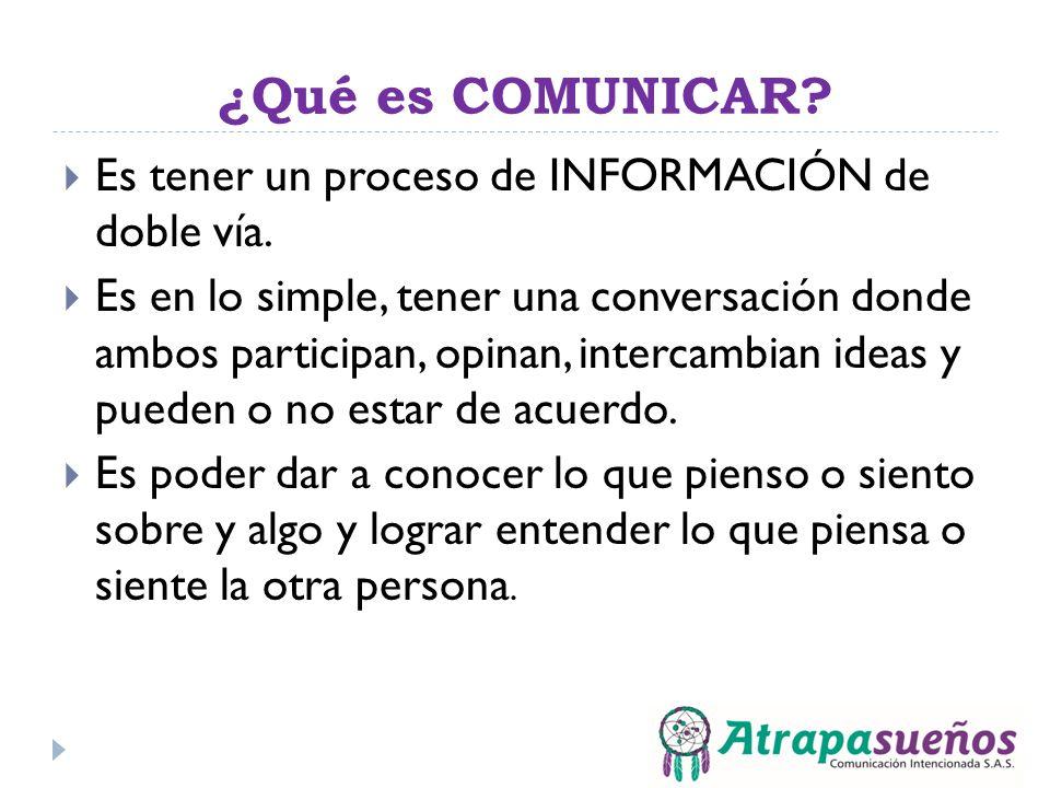 ¿Qué es COMUNICAR Es tener un proceso de INFORMACIÓN de doble vía.