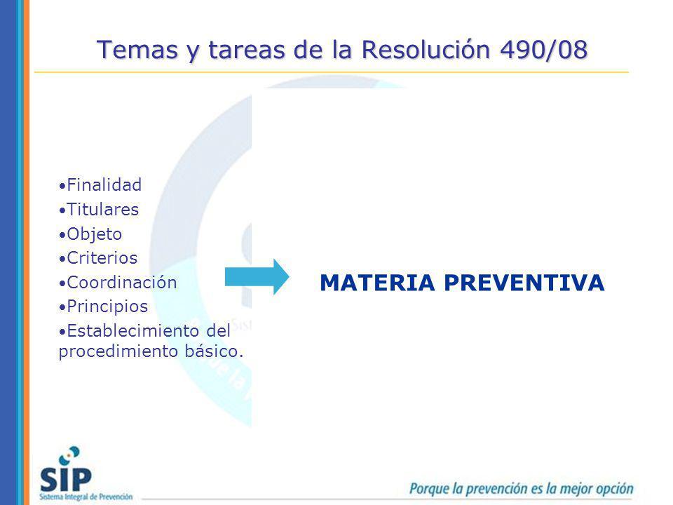 Temas y tareas de la Resolución 490/08